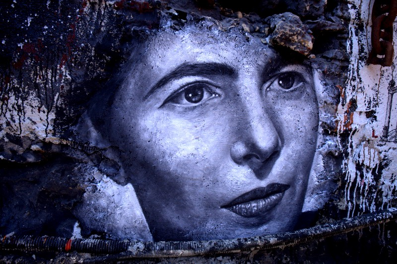 Simone De Beauvoir, painted portrait. Photo by Flickr user thierry ehrmann. CC BY 2.0