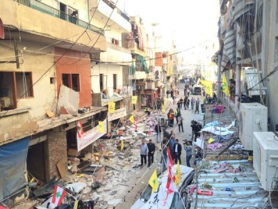 The Beirut blasts, claimed by ISIS, killed 43 people. Photograph from the blast site shared by @zahri_abbas on Twitter