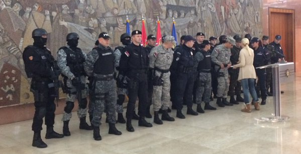 Police officers from several police units line up before the press conference held by Serbian Minister of Interior Nebojsa Stefanovic on Sunday, November 29, 2015. Image shared widely on the Internet.