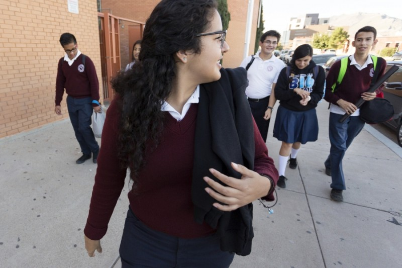 After a day of classes, Arlet and fellow classmates walk towards the Paso Del Norte International Bridge in El Paso.  Credit: Miguel Gutierrez Jr./KUT News. Used with permission.