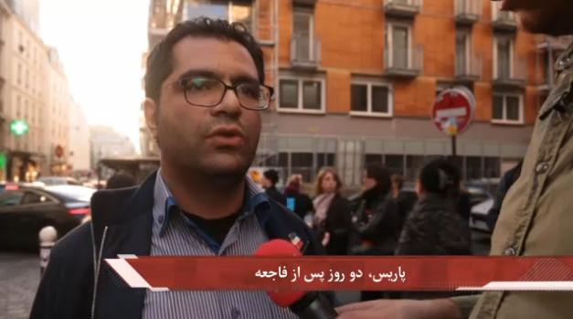 Arash entrevista a un parisino de origen iraní que asistía al concierto en la sala Bataclán cuando se produjo el ataque. Imagen de Manoto report