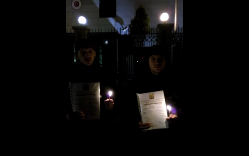 Screenshot of a video of pro-Russian protesters outside the Turkish embasy in Bishkek, Kyrgyzstan.