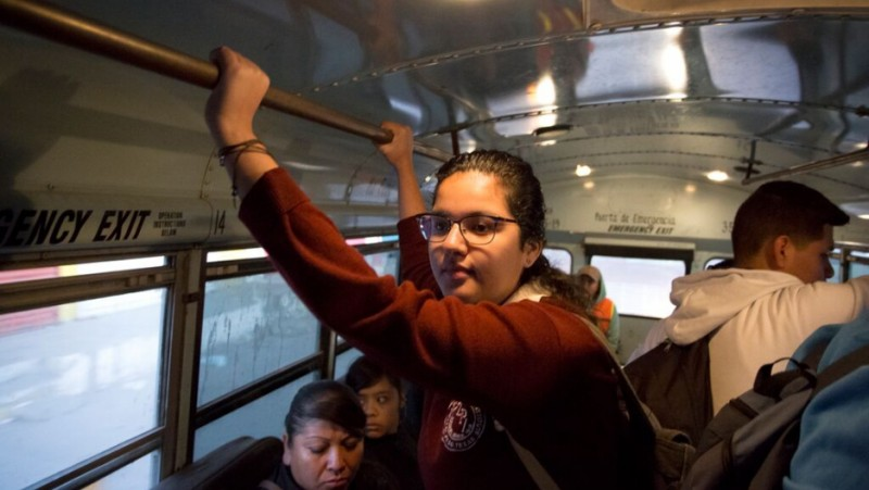 During the school week, Arlet Burciaga rides a bus toward the international bridge in Ciudad Juárez. Credit: Miguel Gutierrez Jr./KUT News. Used with permission.