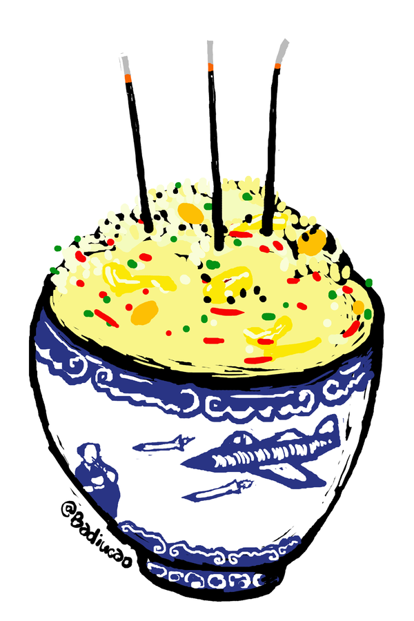 Cartoonist @badiucai's newly release comic on China's Thanksgiving Day.