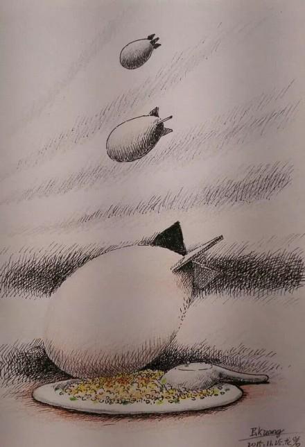 Bill Kwong cartoon on Weibo.