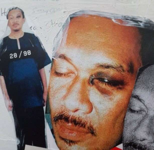 "An excerpt from ""My Dear Papa"" featuring images of Anwar Ibrahim's black eye. Credit: Courtesy of Nurul Hana Anwar"