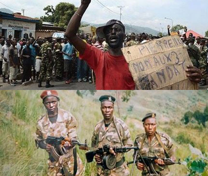 """Pierre, we say no to three-term president."" Image compilation illustrating the crisis in Burundi in 2015"