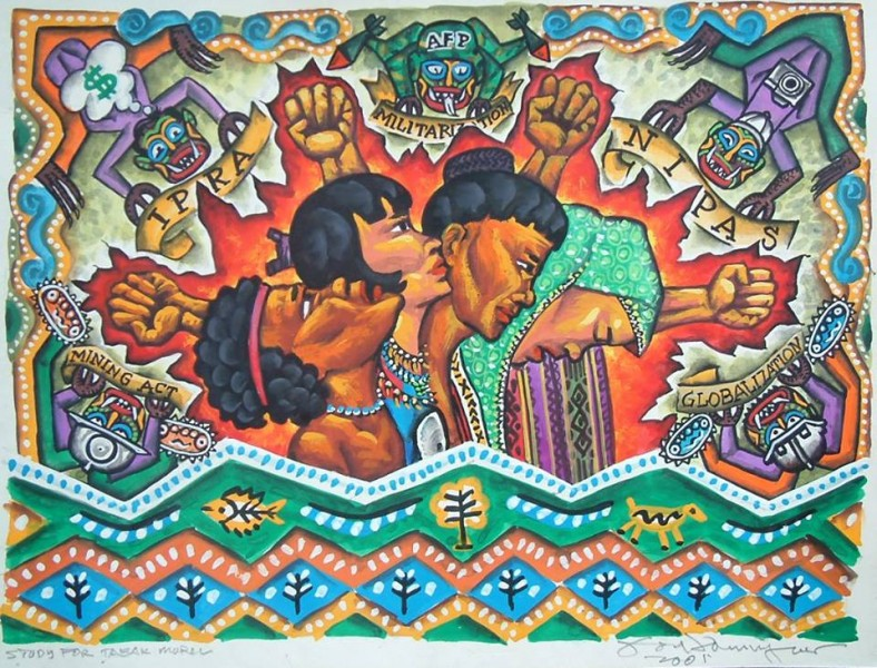 Abgesehen vom Aufzeigen der negativen Folgen der Militarisierung zeigt das Gemälde auch, wie die Regierung auf unfaire Weise die ethnischen Gruppierungen der Philippinen diskriminiert. Gemälde von Federico Boyd Sulapas Dominguez, mit freundlicher Genehmigung reproduziert