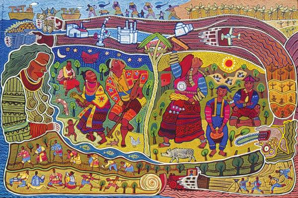 'Mandayuman' is a lumad Mandaya term for where people live. A mini mural showing two major rituals of two different groups. Right part are the Lumad Mandaya (Balilig) and on the left are the Lumad Matigsalog (Panubad tubad). Artwork by  Federico Boyd Sulapas Dominguez, reposted with permission