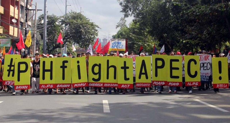 The hashtag #PHfightAPEC was used by activists during the APEC Summit in Manila. Photo from Bulatlat