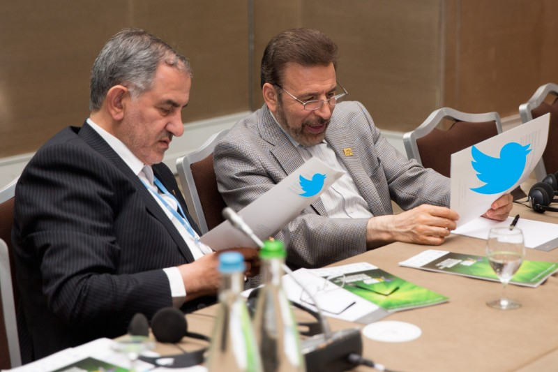Iran's Minister of ICT, Mahmoud Vaezi on the right at the WSIS 2015 forum in Geneva, Switzerland. Image from remixed by Mahsa Alimardani.