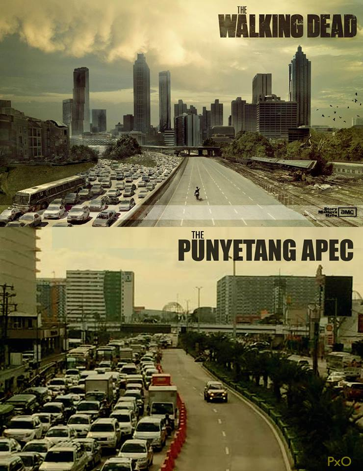 Parts of Manila became like a scene in the hit TV series 'Walking Dead' because of the designation of a special lane for the exclusive use of APEC delegates. Punyeta is a curse word in Filipino. Meme from the Facebook page of Pixel Offensive