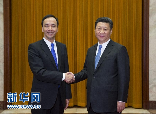 Taiwan ruling Kuomingtang's chairman Eric Chu met with China President Xi Jinping on 4 May 2015. Photo from China state-owned newswire China news.