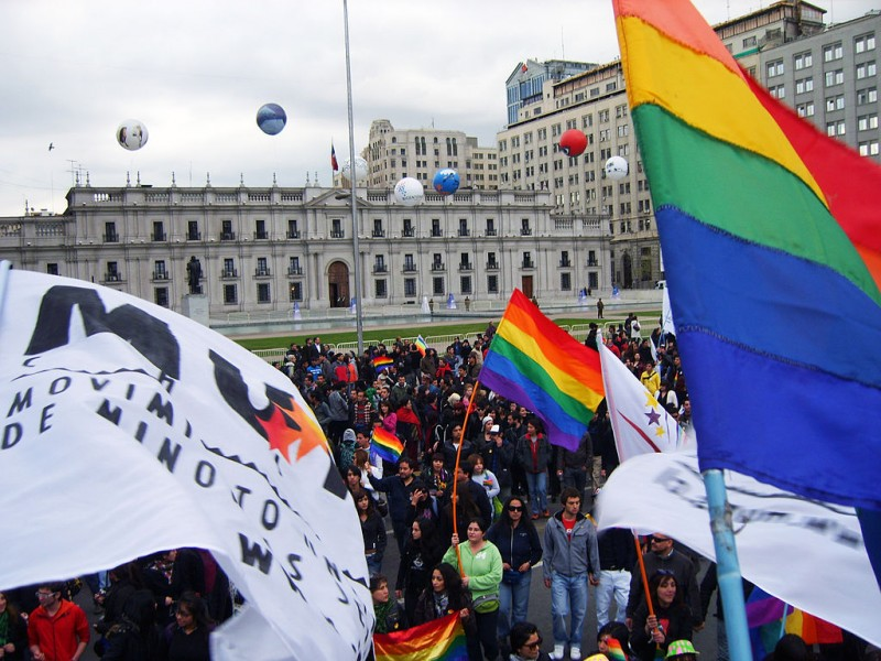 LGBT parade in front of La Moneda, Santiago de Chile in 2009. In 2015 Chile became the seventh South American country to recognise same-sex unions. PHOTO: By CiudadanoGay (Picasa) [CC BY 3.0) via Wikimedia Commons