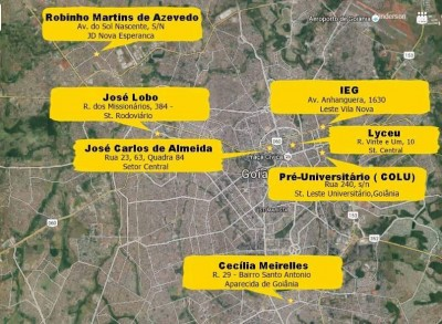 Some of the occupyied schools n Goiânia, capital city of Goiás state.