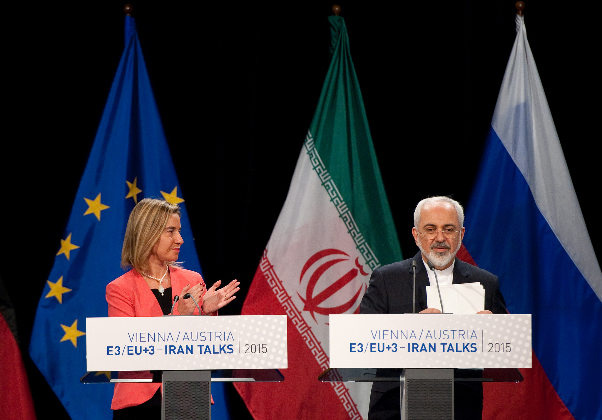 The Iran Deal is announced by EU High Representative Federica Mogherini and Iran Foreign Minister Javad Zarif at the venue of the nuclear talks in Vienna, Austria on July 14, 2015. Photo by EU External Action Service (CC BY-NC 2.0)