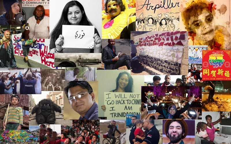 Collage of photos from Global Voices coverage in 2015. Created by L. Finch.