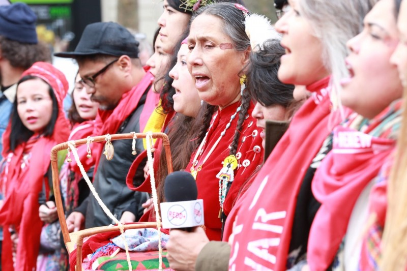 Indigenous representatives from around the world took part in the December 12 'Red Lines' demonstration. Photo: © Jan Levy