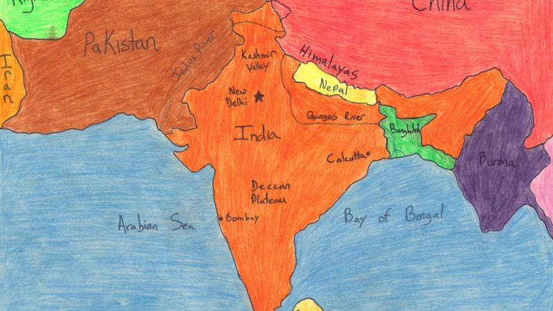 Map of India, Pakistan and Bangladesh. Image from Flickr by dawpa2000. CC BY 2.0