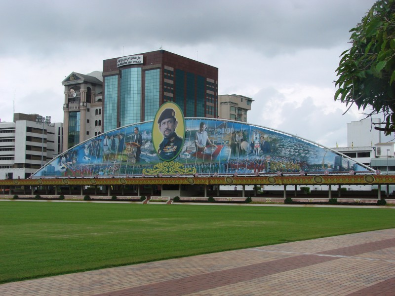 A propaganda mural showing off the many skills and talents of the Sultan of Brunei. Image and caption from the Flickr page of  watchsmart (CC License)