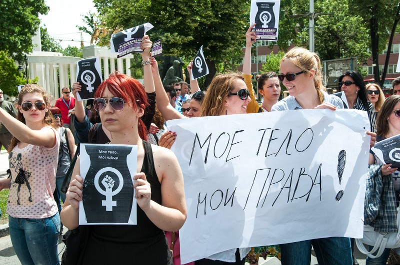 """My body, my rights!"" - protest against anti-abortion law in Skopje, Macedonia, May 29, 2013. Photo by Vanco Dzambaski (CC BY-NC-SA)."