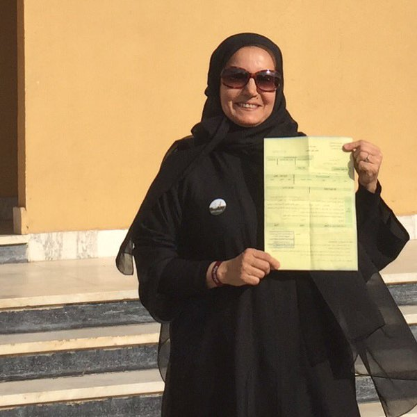 Saudi Fawzia Al Rashid posts this photograph of herself on Twitter @fawziaalrashid after taking part in the municipal elections, which allowed Saudi women to nominate themselves and vote for the first time