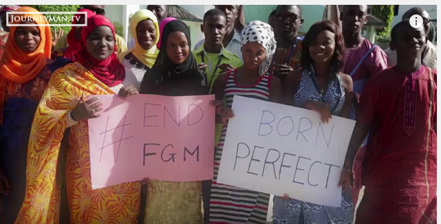 A screenshot of a YouTube video showing anti FGM activists in the Gambia.