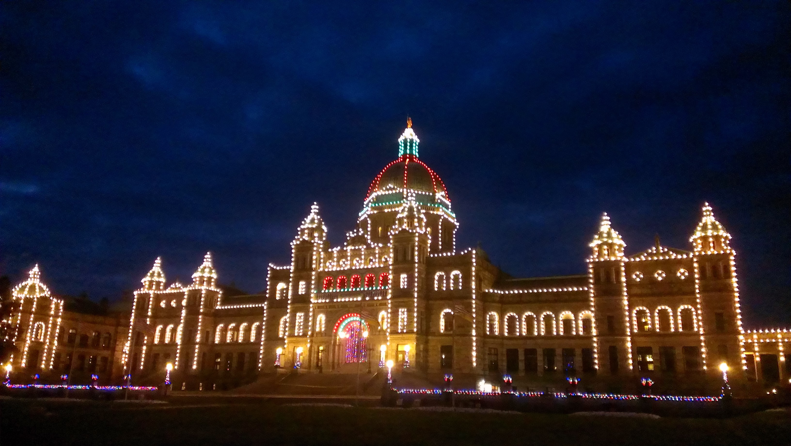British Columbia's Provincial legislature buildings decorated for Christmas.