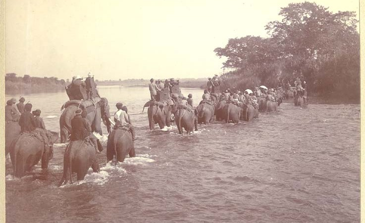 Hunting party on elephants crossing a river.