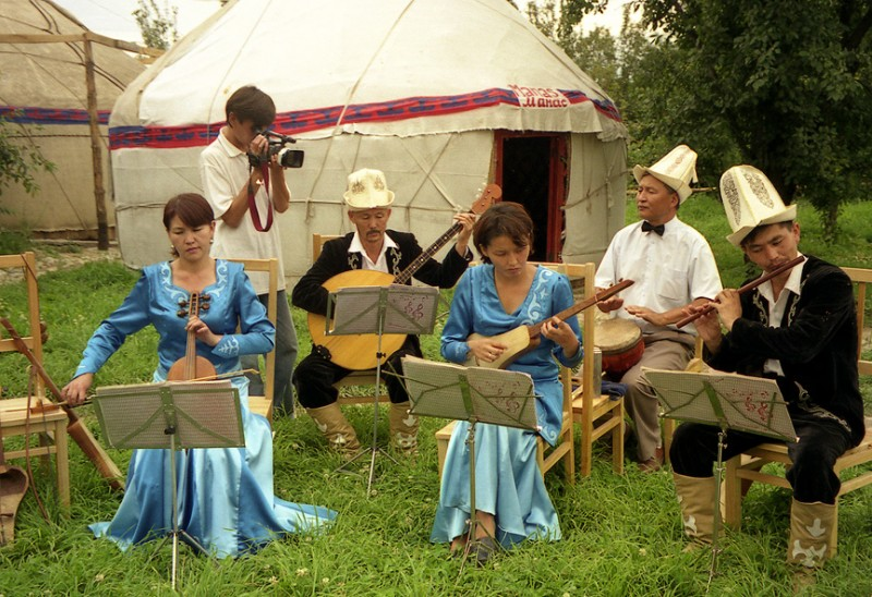 Traditional Kyrgyz musicians in the eastern city of Karakol. Wikipedia image.