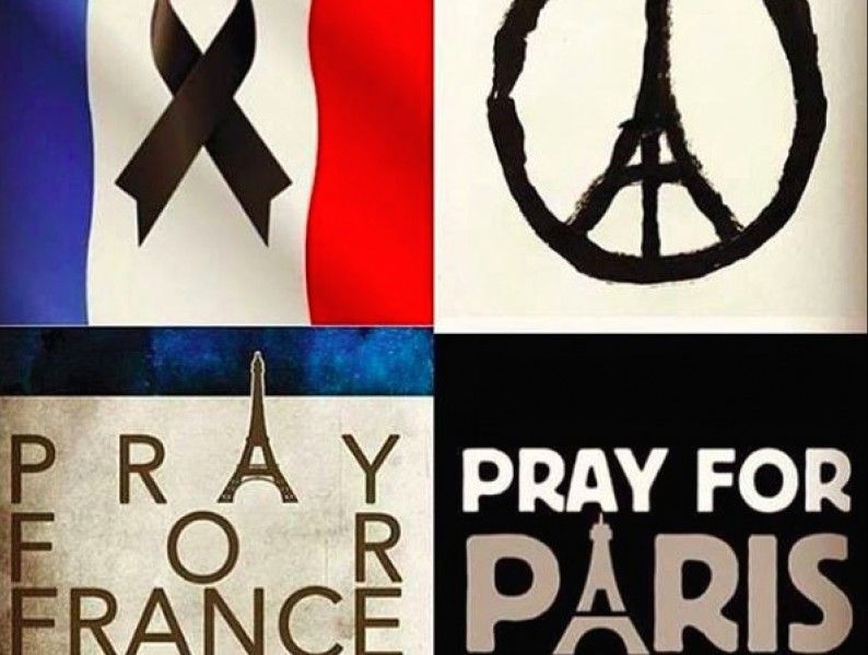 Memes widely shared in solidarity with the victims of the Paris attacks.