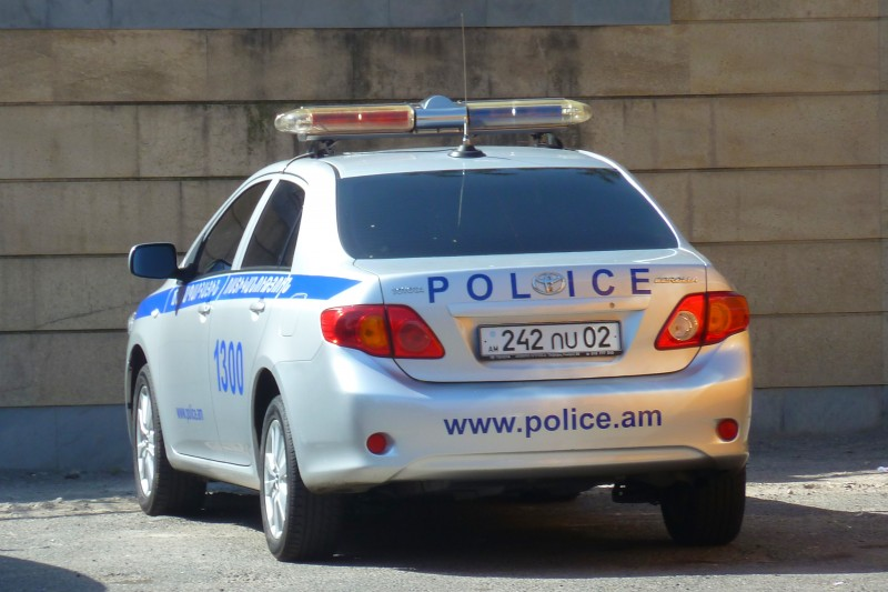 Police car in Yerevan. Wikipedia image.