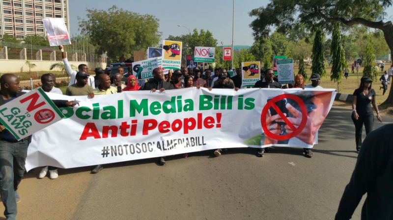 #NotoSocialMediaBill protest in Abuja, Nigeria, December 8, 2015. Photo shared on Twitter by @MrAyeDee.