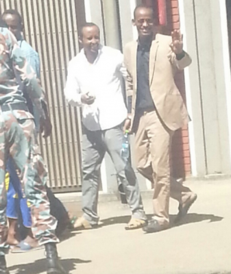 Zelalem and Bahiru leaving Lideta court two weeks ago. Photo courtesy of a friend of Zelalem's, used with permission.