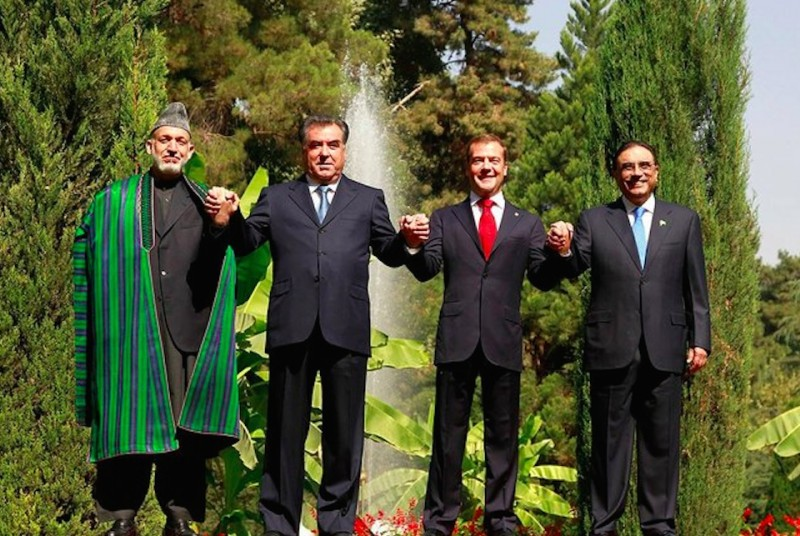 Wiki image from 2011. Rakhmon is second in from the right, between then-presidents of Afghanistan and Russia Hamid Karzai and Dmitri Medvedev.