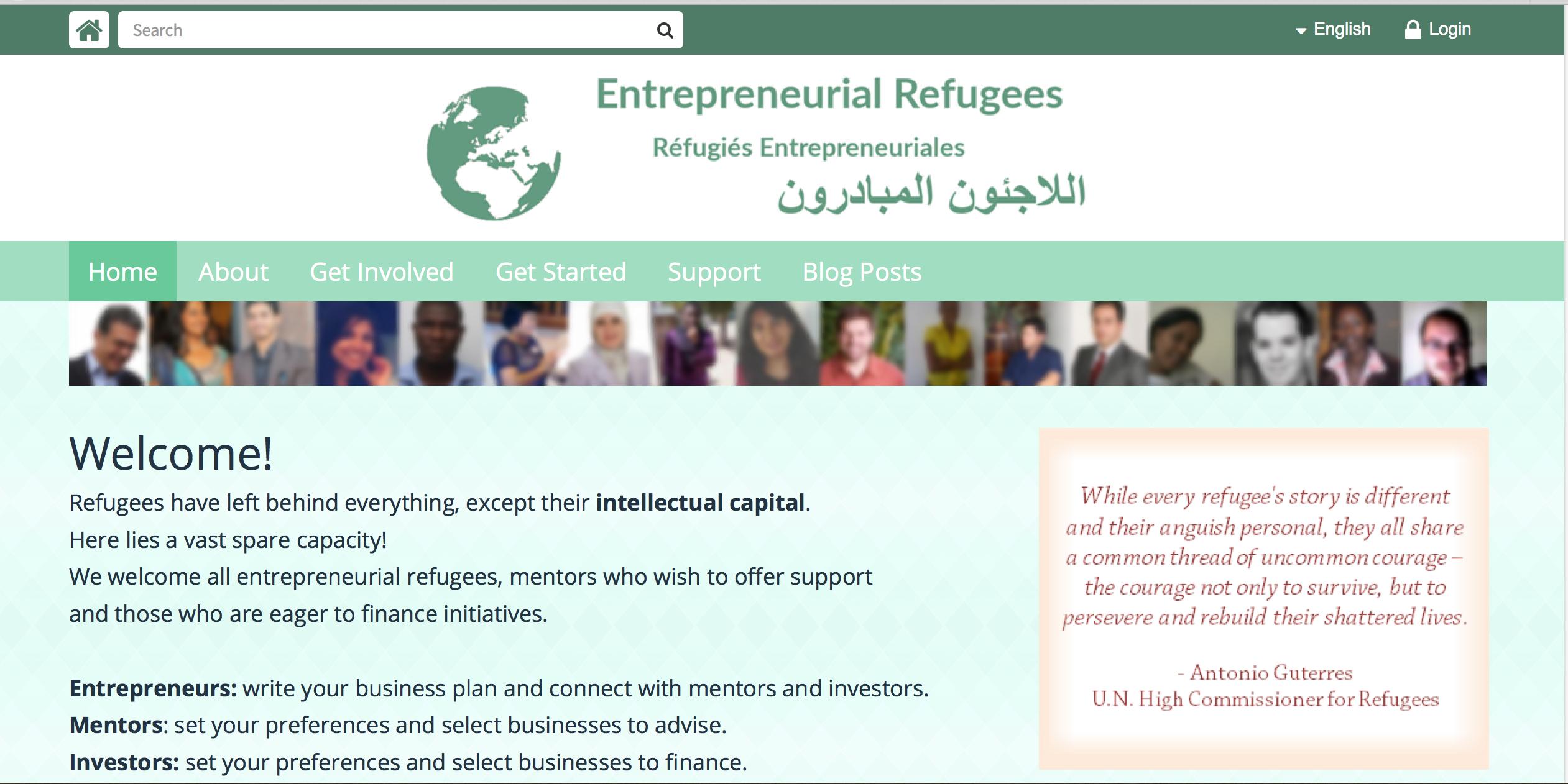 Entrepreneurial Refugees homepage