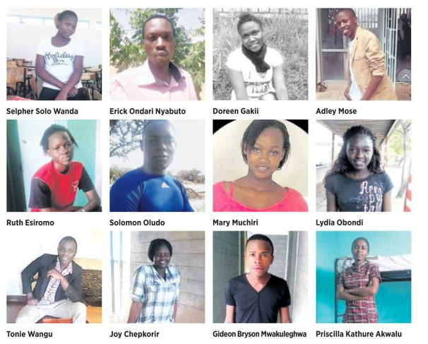 A screenshot from independent newspaper Daily Nation (@DailyNation) featuring photos of Garissa shooting victims, shared on Twitter.