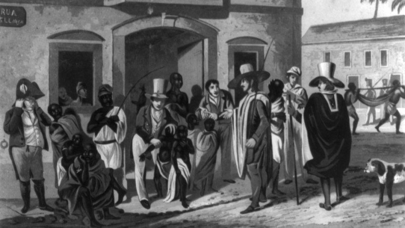 A slave market in Rio, c. 1824. Credit: Edward Francis Finden/Wikimedia Commons
