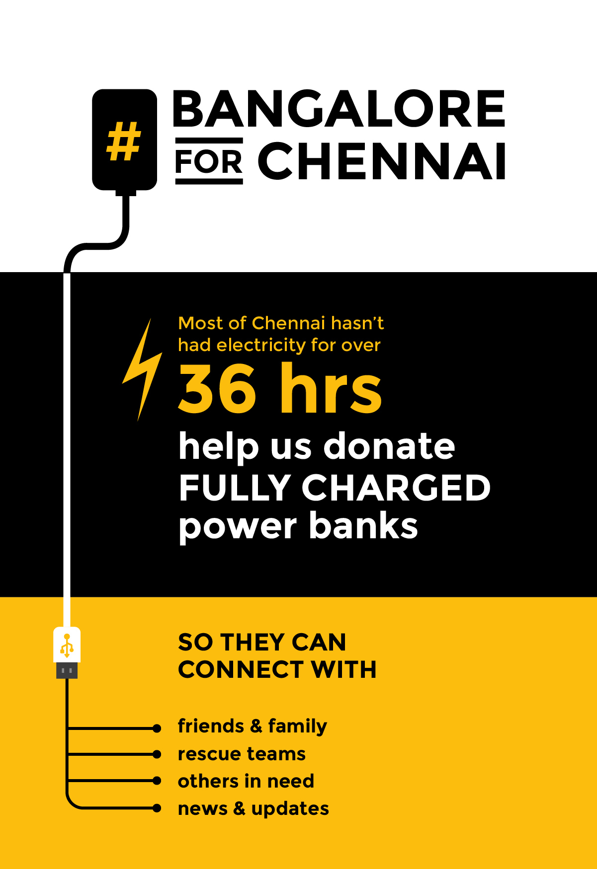Poster explaining how power banks will help the flood victims. Image via Bangalore for Chennai