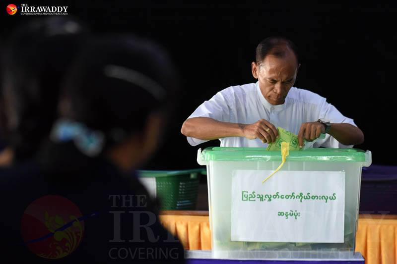 A civil servant casts a ballot at a polling station in Naypyidaw's Zabuthiri Township during the Nov. 8, 2015 election. Photo by J Paing / The Irrawaddy
