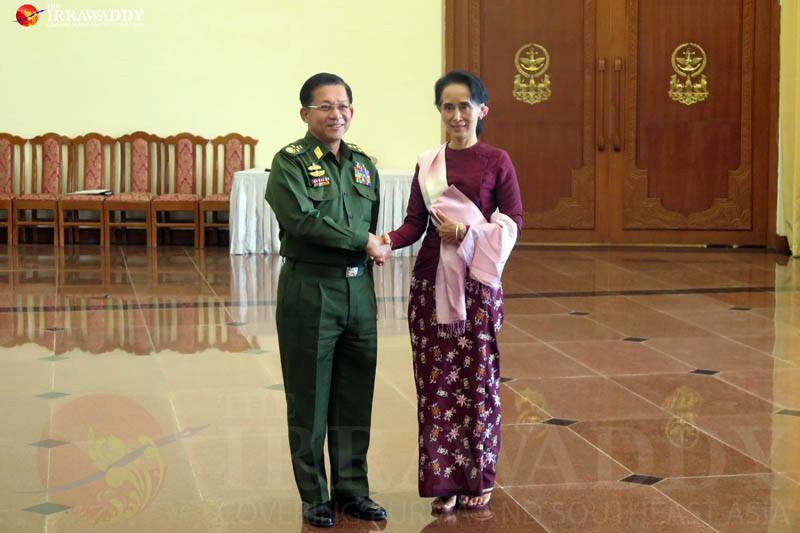 NLD leader Aung San Suu Kyi meets Senior General Min Aung Hlaing at the commander-in-chief's Naypyidaw office on Dec. 2, 2015. Photo by Htet Naing Zaw / The Irrawaddy