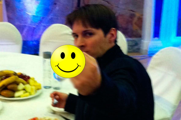 Pavel Durov flips the bird to investors he accused of trying to crowd him out from Vkontakte. July 22, 2011.