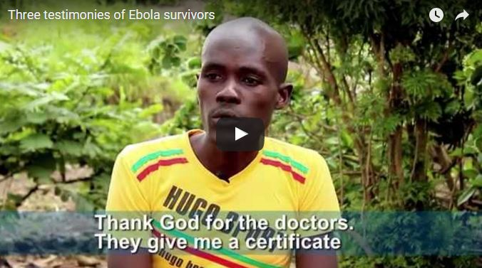 Screen capture of an Ebola survivor testimony.