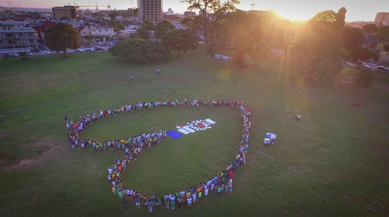 Drone image of some of the participants in the Climate Change March in Trinidad and Tobago. Photo courtesy IAMovement, used with permission.