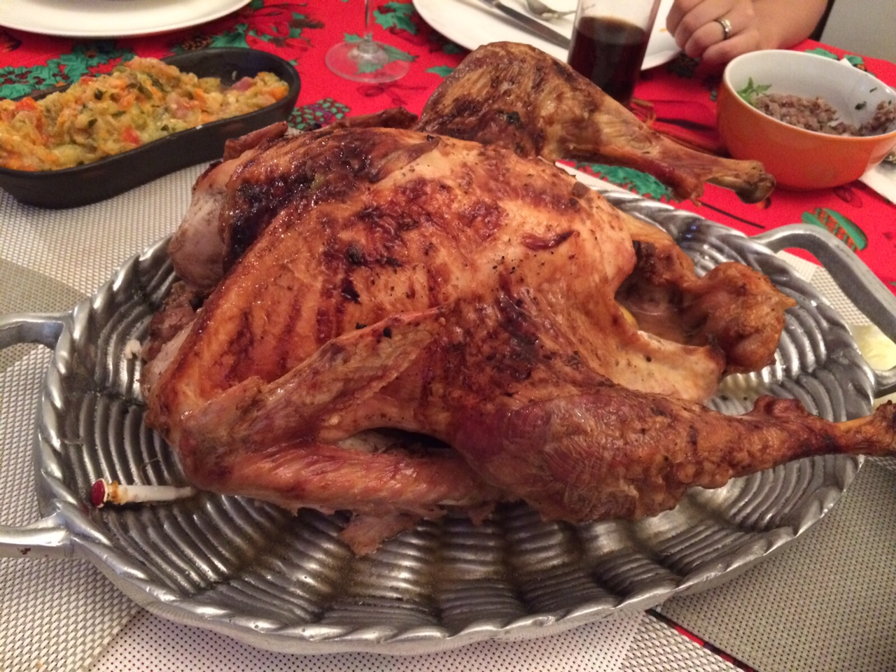 """Our Christmas Turkey.  [] It's 33 Celsius in Santiago, so Santa is wearing shorts."""