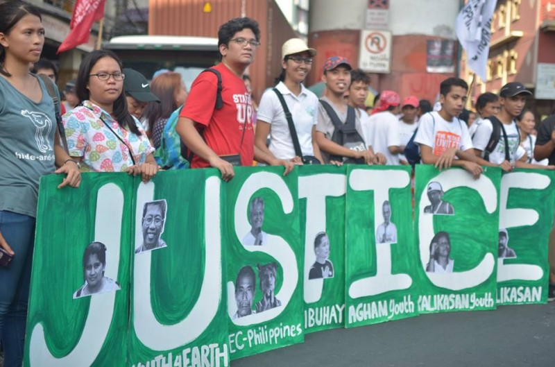 Filipino environmental activists call for justice and the protection of human rights. Photo from the Facebook page of Loi Manalansan