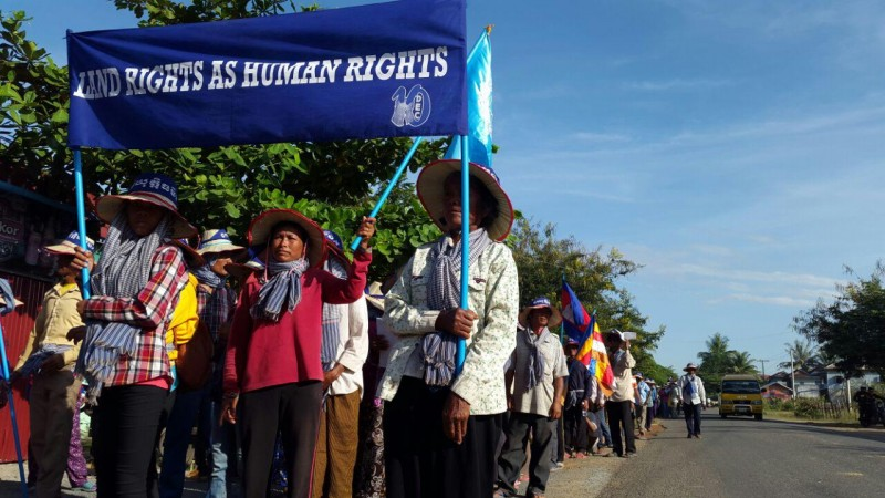 The group in Kampong Speu reached the provincial capital Chbar Morn. The issue of land rights is a major political demand in Cambodia. Photo from Licadho, a human rights group.