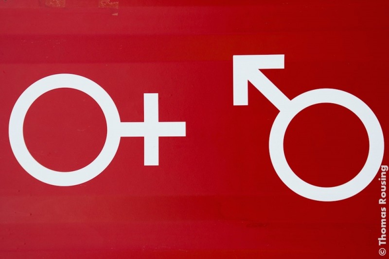 The female and male symbols; photo by Thomas Rousing, used under a CC BY 2.0 license.