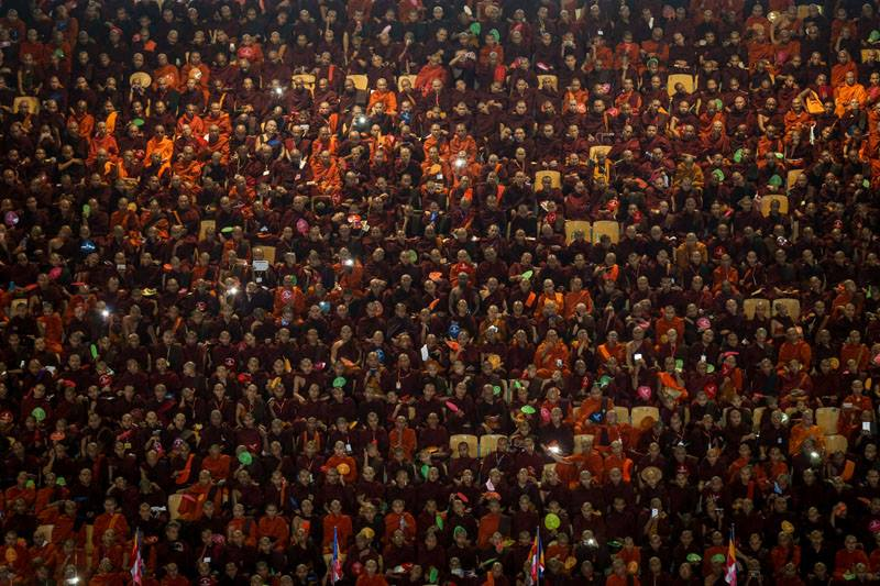 Buddhist monks from the Association for the Protection of Race and Religion, also known as Ma Ba Tha, gather at Thuwunna Stadium in Rangoon on Oct. 4, 2015 to commemorate the enactment of protection of Race and Religion Laws. Some critics describe the laws as discriminatory to the Muslim minority population. Photo by Hein Htet / The Irrawaddy