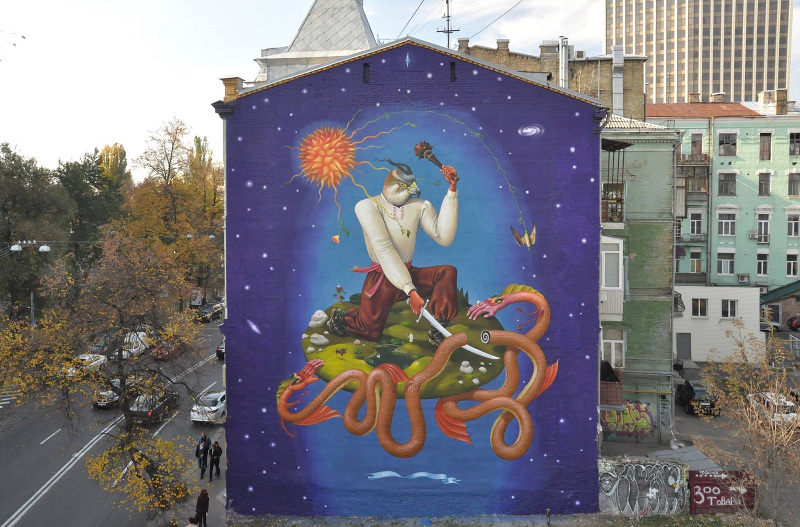 This recent mural by Ukrainian street art collective Interesni Kazki can also be found on the interactive map. Image from ilgorgo.com, CC-BY 3.0.